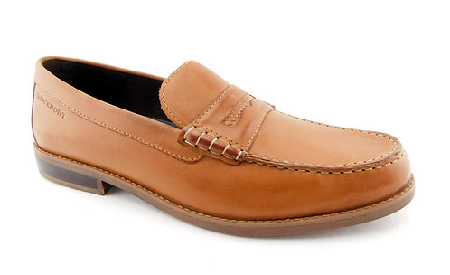 ROCKPORT Tan Cayleb Leather Slip-on Penny Loafers 12