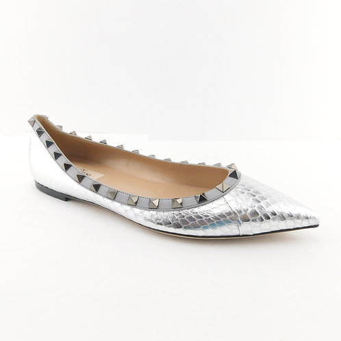 VALENTINO Size 8 Silver Snakeskin ROCKSTUD Pointed Ballet Flats 38 1/2 Eur