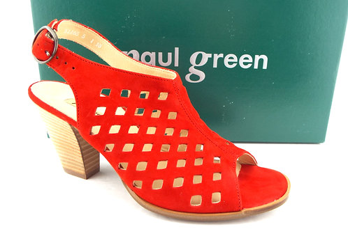 PAUL GREEN Red Laser Cut Suede Heels UK 5/US 7.5