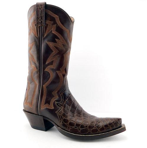 BACK AT THE RANCH Brown Crocodile Cowboy Boots 8.5