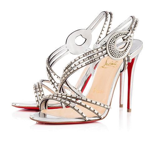 CHRISTIAN LOUBOUTIN Size 7.5 GIRLSBESTFRIEND STRASS Heels Sandals Shoes 38