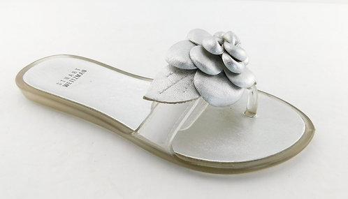 STUART WEITZMAN Silver Floral Thong Flat Sandals 6