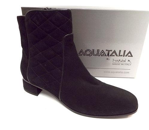 AQUATALIA LATIFA Black Quilted Suede Ankle Boot 9.5