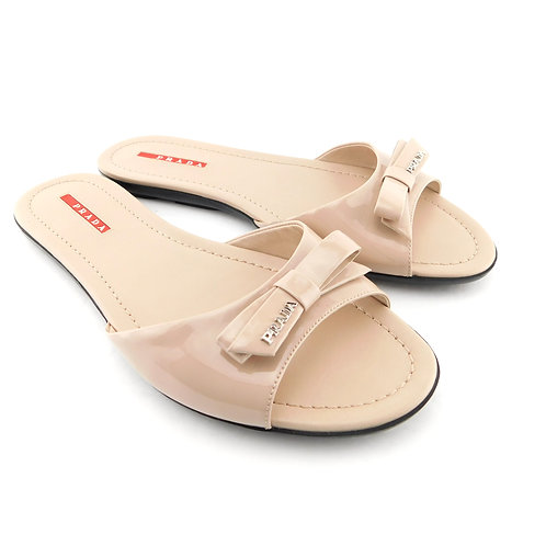PRADA Sport Size 8.5 Nude Beige Patent Logo Slide Flatss Shoes 39 Eur