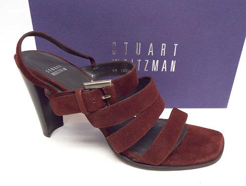 STUART WEITZMAN Burgundy Suede Strappy Sandal