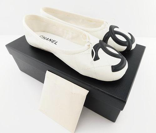 CHANEL CC Logo White Leather Quilt Ballet Flats 37
