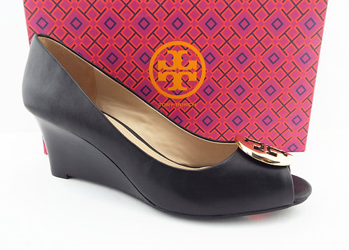 TORY BURCH Logo Black Leather Wedge Pumps 8