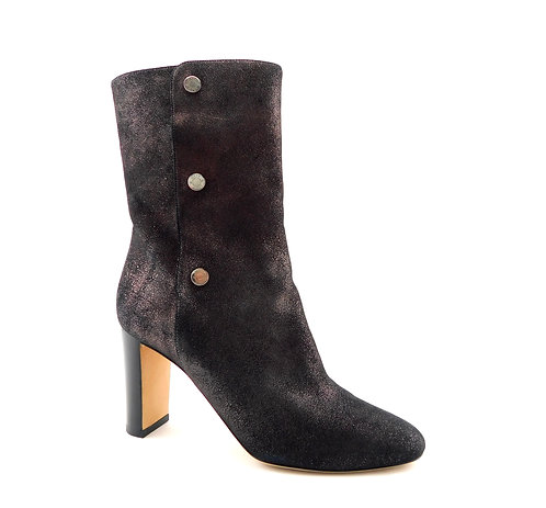 JIMMY CHOO Logo Button Shimmer Leather Dayno Bootie 38.5