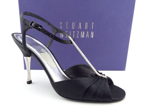 STUART WEITZMAN Black Crystal Heel Pump 9