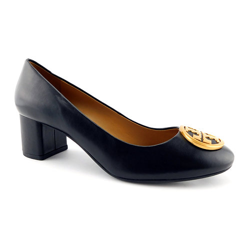 TORY BURCH Size 7 BENTON Black Logo Heels Pumps Shoes