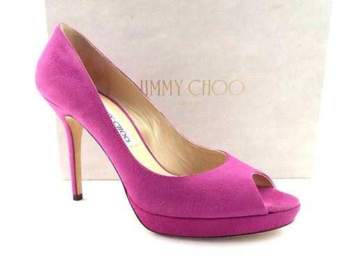 JIMMY CHOO Fuchsia Suede Open Toe Pumps 39 / 8.5