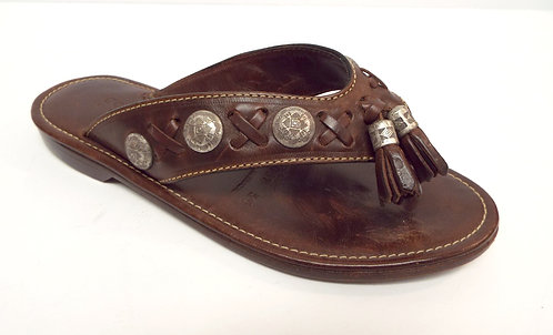 COLE HAAN Brown Leather Thong South Western Sandal 5