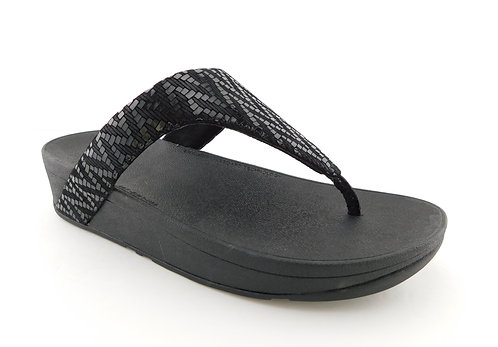 FITFLOP Shimmer Black Textured  Lottie Chevron Thong Sandals 9