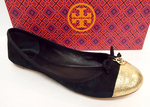 TORY BURCH 'Chelsea' Black Gold Soho Lux Ballet