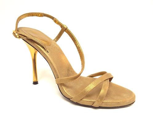 DONNA KARAN Gold Metallic Slingback Sandal 38.5 / 8