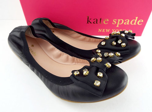KATE SPADE Black Crystal Bow Ballet Flats 8