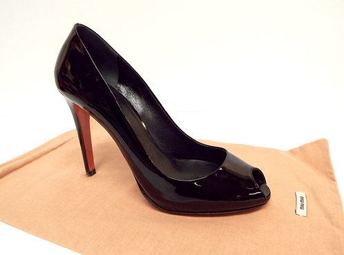 MIU MIU Black Patent Open Toe Pump 36.5/ 6.5