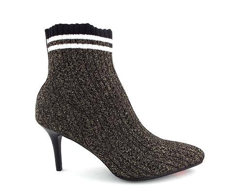 STUART WEITZMAN Black/Gold Knit Sock Booties 9