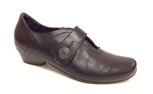 ZIERA Black Leather Walking Comfort Shoe 37.5