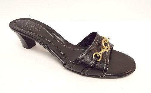 COACH Black Leather Slide Sandal 9