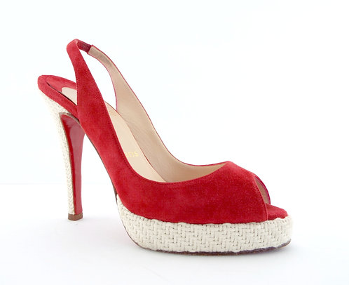 Christian Louboutin Red Suede Sling Pump Sandal 37