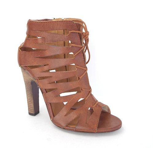DIESEL Black Gold Brown Cutout Sandal Booties
