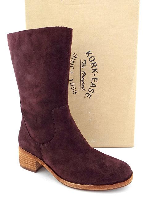 KORK-EASE Burgundy Suede Block Heel Boots 8