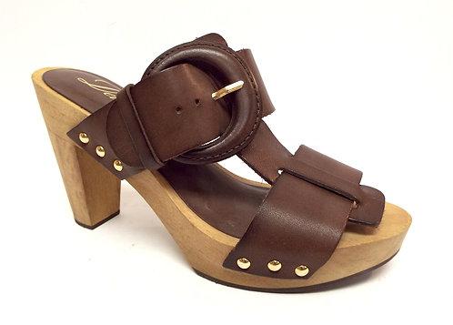 DELMAN Brown Leather Slide Sandal 6