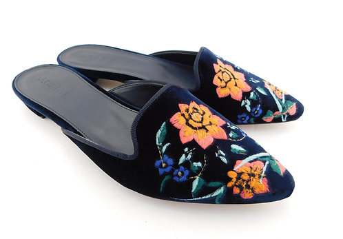 J. CREW Floral Embroidered Velvet Mules 7.5