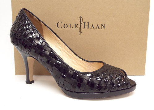 COLE HAAN Size 9.5 CARMA Black Leather & Patent Woven Heels Pump