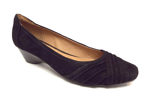 CLARKS ARTISAN Black Suede Snub Nosed Wedge Flat 9