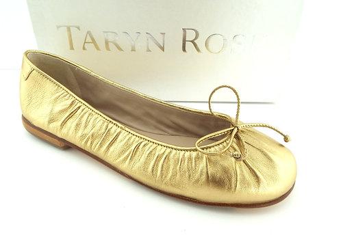 Taryn Rose Gold Italian Leather Bow Flats 38.5