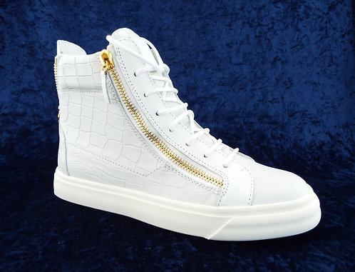Giuseppe Zanotti White Croc Logo Sneakers 39