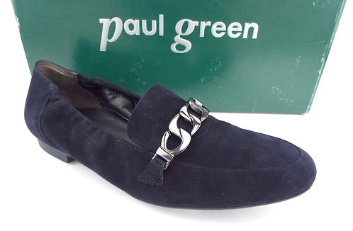 PAUL GREEN NEWCASTLE Navy Blue Suede Chain Loafer Flats