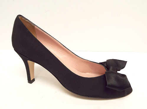 AMALFI Black Grosgrain Peep Toe Pump 6.5