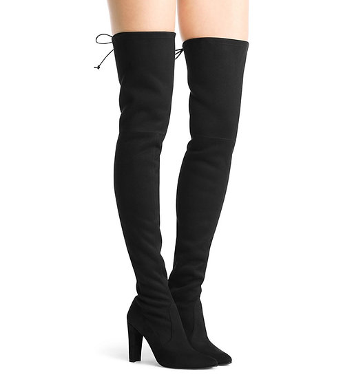 STUART WEITZMAN Black Stretch Suede OTK Boot 8.5