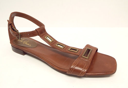 COLE HAAN Brown T-Strap Ankle Strap Flat Sandal 9