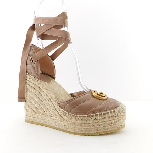 GUCCI Size 7.5 GG Marmont Taupe Quilted Wedge Espadrilles Heels Shoes 38 Eur