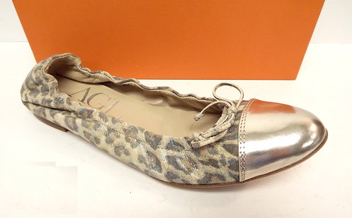 AGL SLEEK Gold Leopard Ballet Flat Shoes 41 / 10