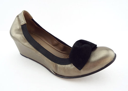 ANYI LU ROSIE Pewter Metallic Wedge Bow Ballet Pumps 39