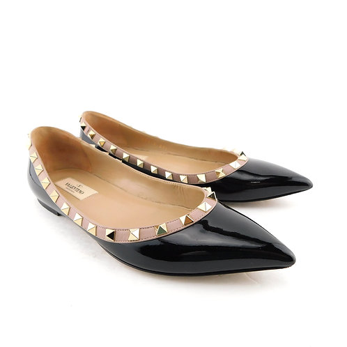 VALENTINO Size 7.5 Black ROCKSTUD Pointed Ballet Flats Shoes 37.5 Eur