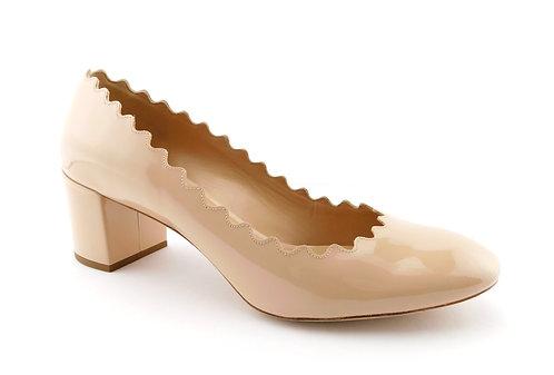 CHLOE Lauren Nude Patent Scalloped Block Heel Pumps 37.5