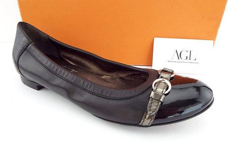 AGL Black Cap Toe Ballet Flats 38.5