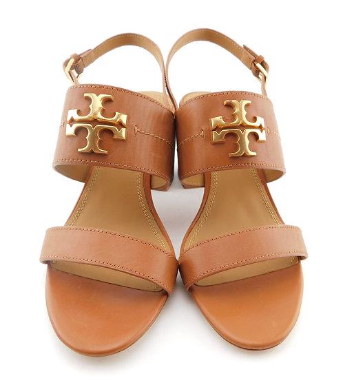 TORY BURCH Everly Logo Tan Block Heel Sling Sandal 10