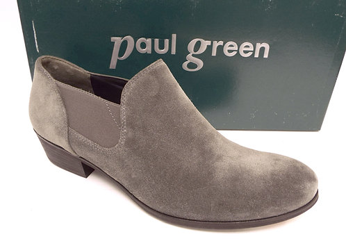 PAUL GREEN Gray Waxed Suede Ankle Bootie 7