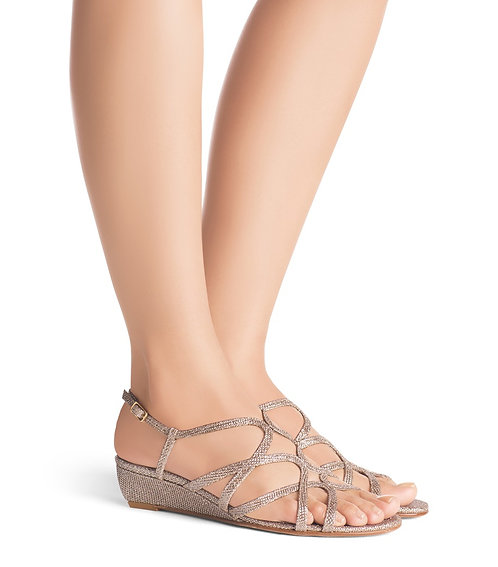 STUART WEITZMAN Glitter gold Wedge Sandals 12