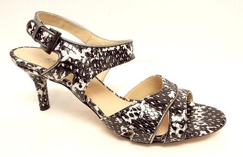 RANGONI Amalfi Ankle Strap Black & White Sandals