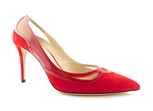 JIMMY CHOO Red Suede/Patent Leather Heels Pumps 41