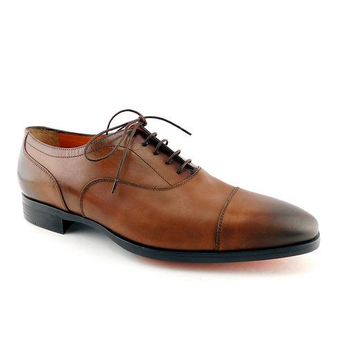 SANTONI Size 9.5 EAMON Brwn Cap Toe Oxfords Shoes 9 1/2