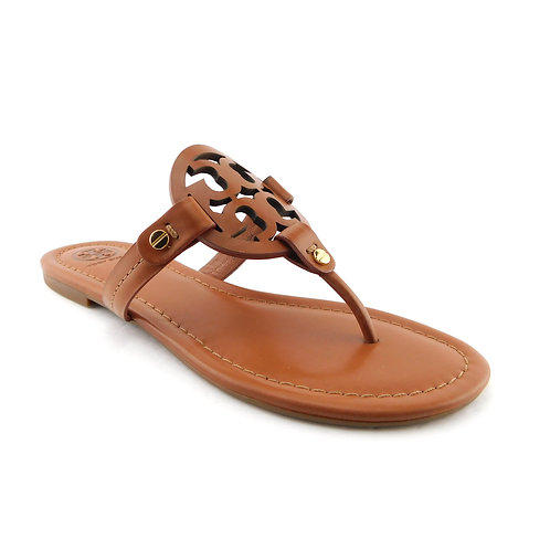 New TORY BURCH Size 7.5 MILLER Royal Tan Thong Sandals Shoes 7 1/2